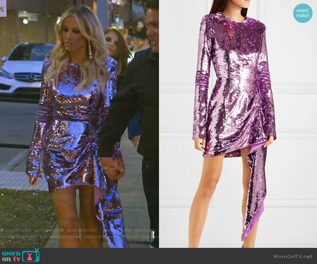 Draped Sequined Crepe Mini Dress by 16Arlington worn by Stephanie Hollman  on The Real Housewives of Dallas