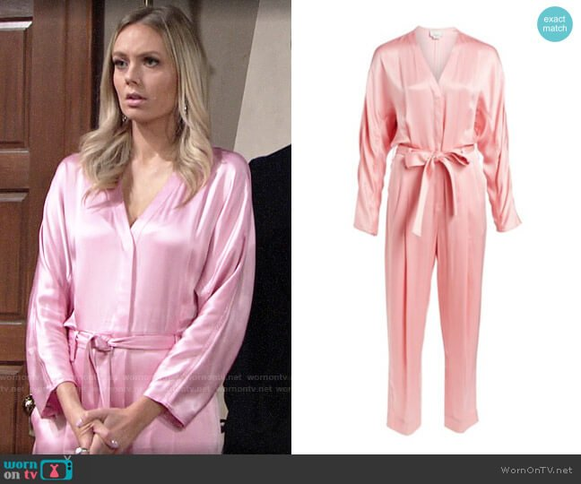 3.1 Phillip Lim Belted Satin Jumpsuit worn by Abby Newman (Melissa Ordway) on The Young & the Restless