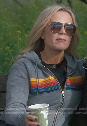 Tamera's gray stripe hoodie on The Real Housewives of Orange County