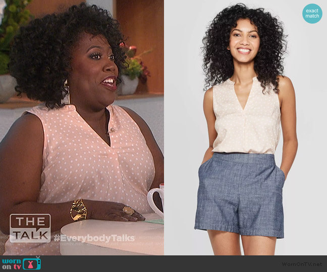 Polka Dot Sleeveless V-neck Blouse by Target worn by Sheryl Underwood  on The Talk