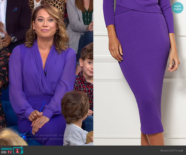 Adelle Sweater Skirt - Eva Mendes Collection by New York & Company worn by Ginger Zee  on Good Morning America