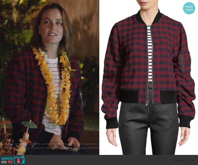Andrew Plaid Wool Bomber Jacket by A.L.C. worn by Angie (Leighton Meester) on Single Parents