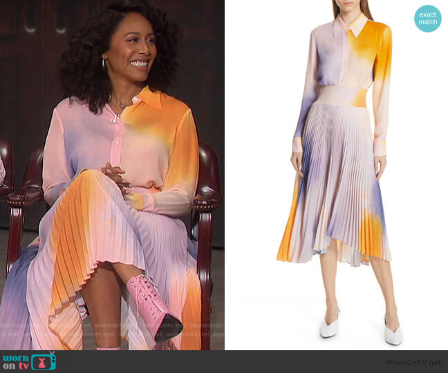 Jayne Dip Dye Silk Blouse and Skirt by A.L.C. worn by Simone Missick on The Talk