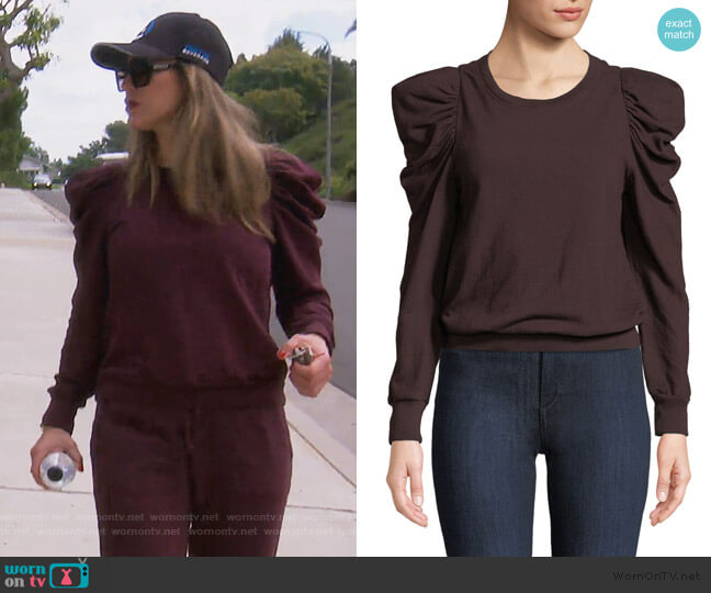 Loma Puff Sleeve Sweatshirt by A.L.C. worn by Kelly Dodd  on The Real Housewives of Orange County