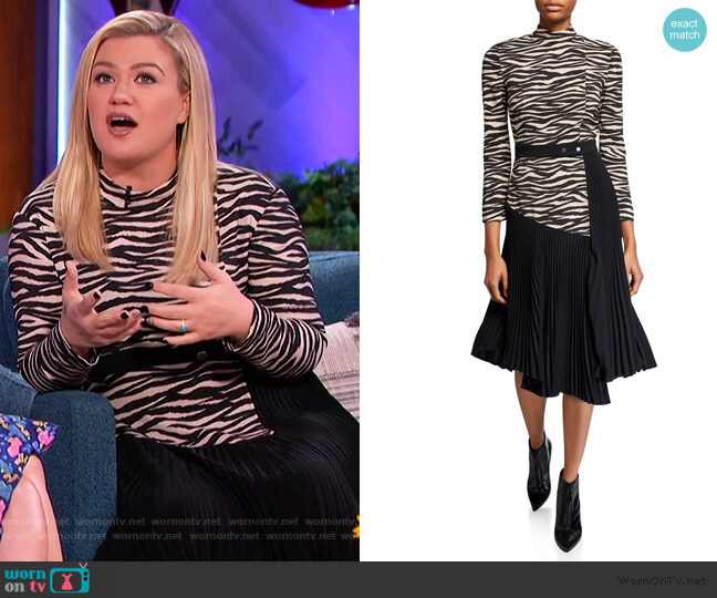 Peyton Zebra Mock-Neck Pleated Dress by A.L.C. worn by Kelly Clarkson  on The Kelly Clarkson Show