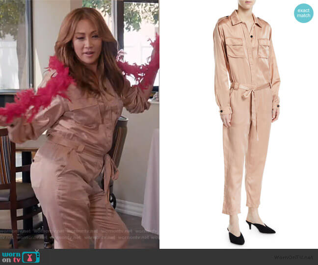 Jeter Silk Satin Jumpsuit by A.L.C. worn by Carrie Inaba  on The Talk
