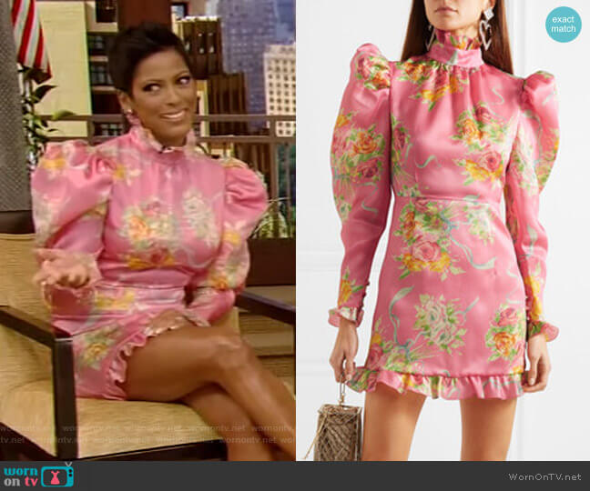 Ruffle-Trimmed Floral-Print Mini Dress by Alessandra Rich worn by Tamron Hall on Live with Kelly and Ryan