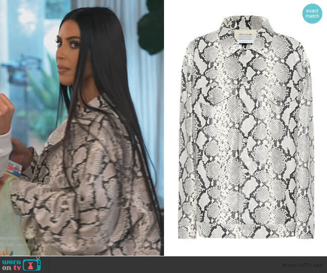Snakeskin Embossed Leather Jacket by ALYX worn by Kim Kardashian  on Keeping Up with the Kardashians