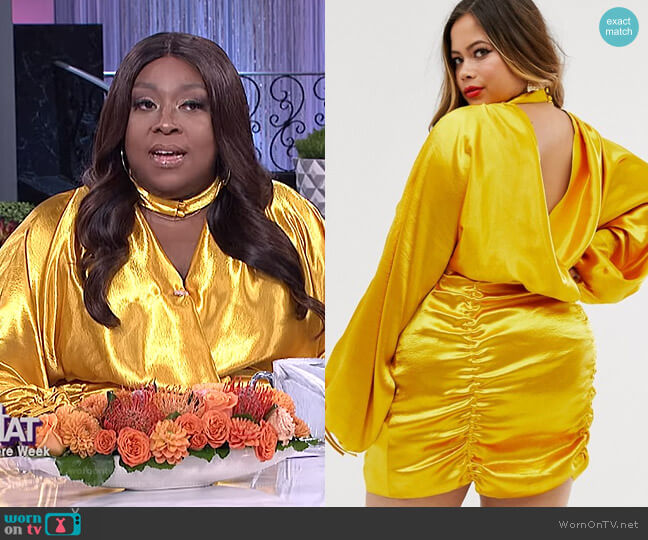 Curve Satin Mini Dress with Ruched Skirt and Blouson Top by Asos worn by Loni Love  on The Real