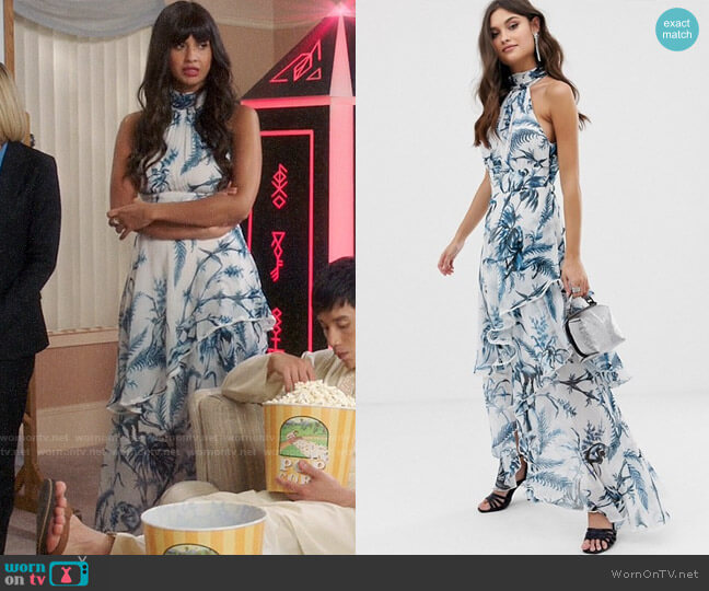 ASOS DESIGN high neck maxi dress in crinkle chiffon palm print worn by Tahani Al-Jamil (Jameela Jamil) on The Good Place