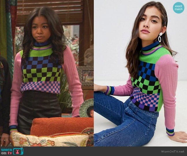 Mixed Checkerboard Sweater with Tipping by Asos worn by Nia Baxter (Navia Robinson) on Ravens Home