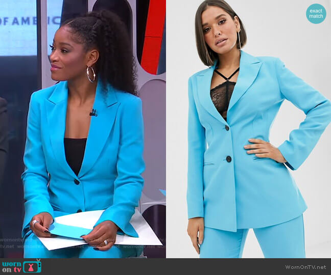 Pop Waisted Suit Blazer by Asos worn by Keke Palmer  on Good Morning America
