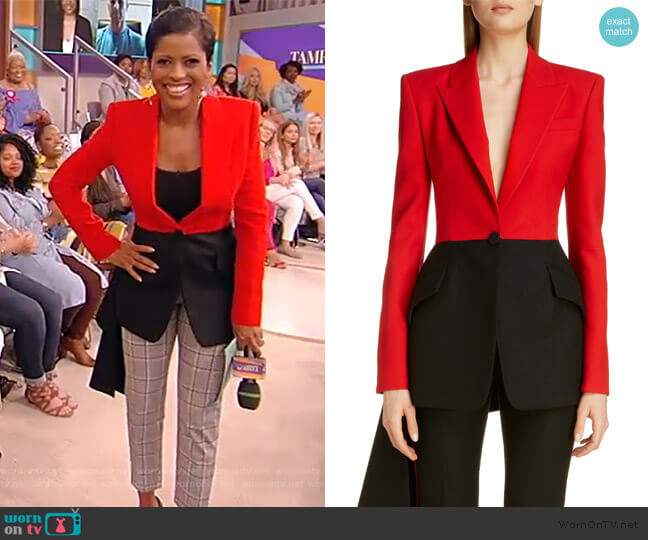 Bicolor Military Drape Jacket by Alexander McQueen worn by Tamron Hall  on Tamron Hall Show