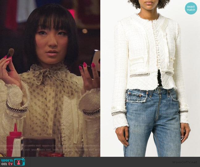 Deconstructed Chain Detail Tweed Jacket by Alexander Wang worn by Mei Lin (Poppy Liu) on Sunnyside