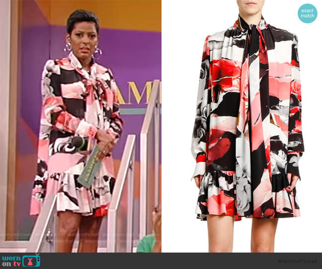 Torn Rose-Print Tie-Neck Dress by Alexander McQueen worn by Tamron Hall  on Tamron Hall Show