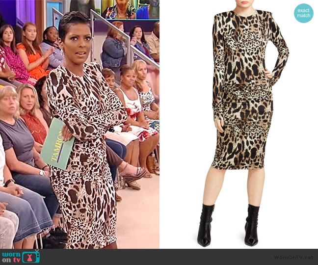 Ruched Jersey Lynx Print Bodycon Dress by Alexandre Vauthier worn by Tamron Hall  on Tamron Hall Show