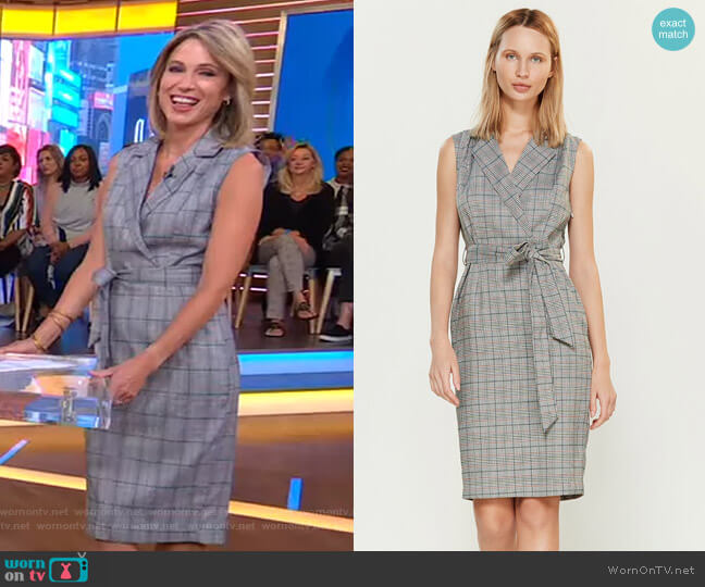 Jess Sleeveless Trench Dress by Alexia Admor worn by Amy Robach  on Good Morning America