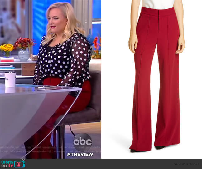 Dylan High-Waist Wide-Leg Pants by Alice + Olivia worn by Meghan McCain  on The View
