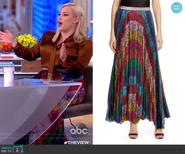 Katz Sunburst Snakeskin Maxi Skirt by Alice + Olivia worn by Meghan McCain  on The View