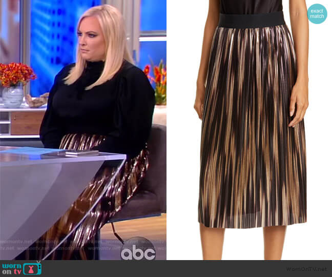 Mikaela Metallic Pleated Skirt by Alice + Olivia worn by Meghan McCain  on The View