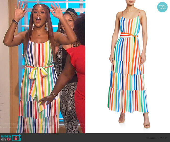 Janan Striped Maxi Dress by Alice + Olivia worn by Eve  on The Talk