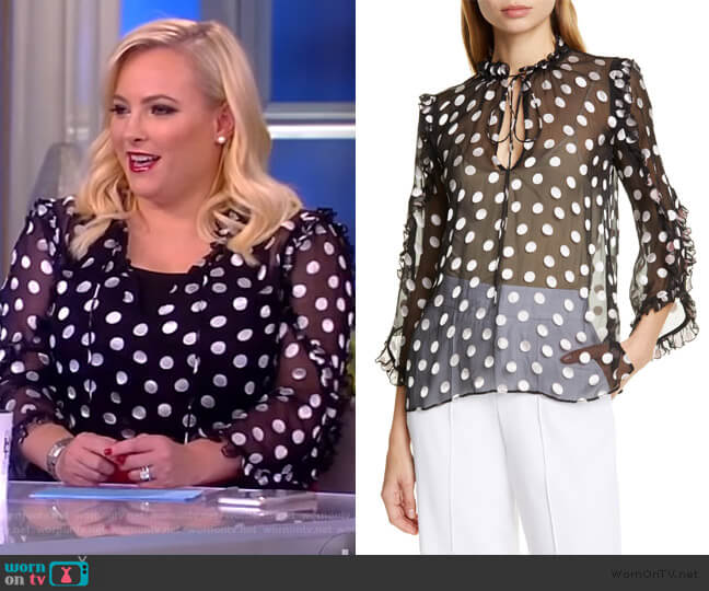 Julius Ruffle Polka Dot Blouse by Alice + Olivia worn by Meghan McCain  on The View