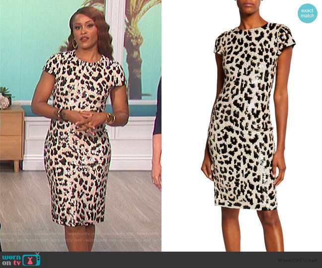 Nat Embellished Short-Sleeve Dress by Alice + Olivia worn by Eve  on The Talk