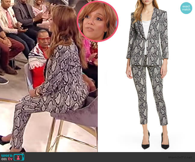 Richie Snake Print Cotton Blend Jacket and Pants by Alice + Olivia worn by Sunny Hostin on the Tamron Hall Show