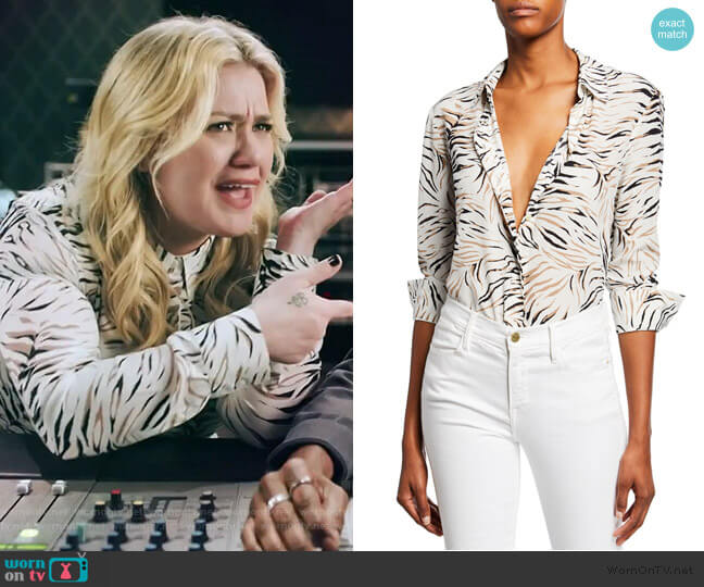 Chika Long-Sleeve Tiger-Print Shirt by Altuzarra worn by Kelly Clarkson  on The Kelly Clarkson Show