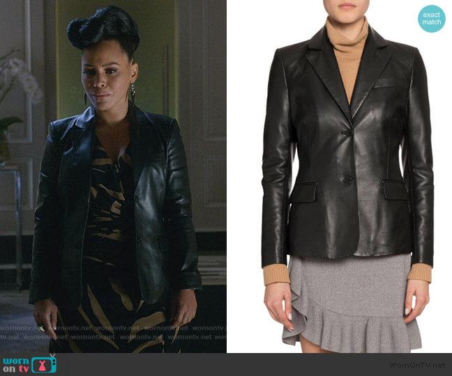 Single-Breasted Leather Blazer worn by Tegan Price (Amirah Vann) on HTGAWM