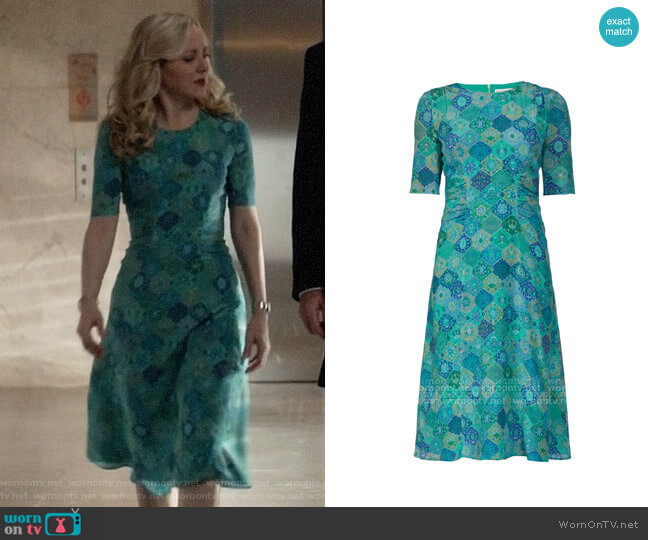 Altuzarra Tile Print Dress worn by Marissa Morgan (Geneva Carr) on Bull