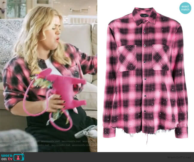 Embellished Plaid Shirt by Amiri worn by Kelly Clarkson  on The Kelly Clarkson Show