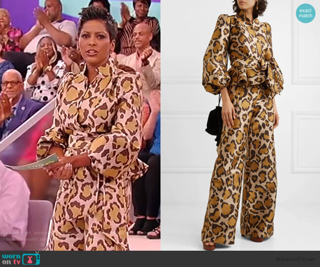 Stella leopard-jacquard wrap blouse and pants by Anna Mason worn by Tamron Hall  on Tamron Hall Show