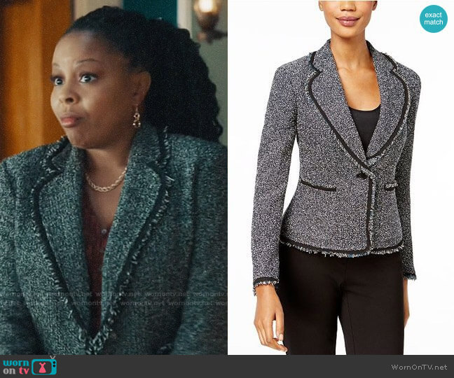 Anne Klein Fringed Tweed Blazer  worn by Adams (Tymberlee Hill) on Perfect Harmony