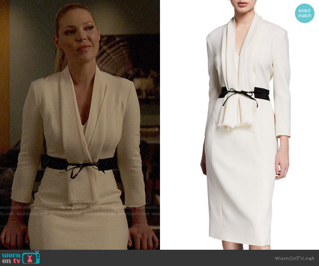 Atelier Caito for Herve Pierre 3/4-Sleeve Bow-Belted Cocktail Dress worn by Samantha Wheeler (Katherine Heigl) on Suits