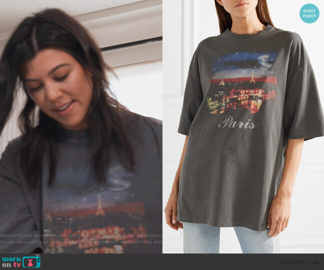 Oversized printed cotton-jersey T-shirt by Balenciaga worn by Kourtney Kardashian  on Keeping Up with the Kardashians