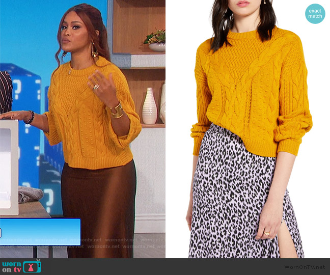 x Claudia Sulewski Cable Sweater by BP worn by Eve  on The Talk