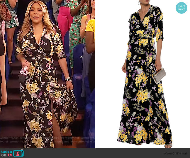 Ruffle floral-print maxi wrap dress by BYTIMO worn by Wendy Williams  on The Wendy Williams Show