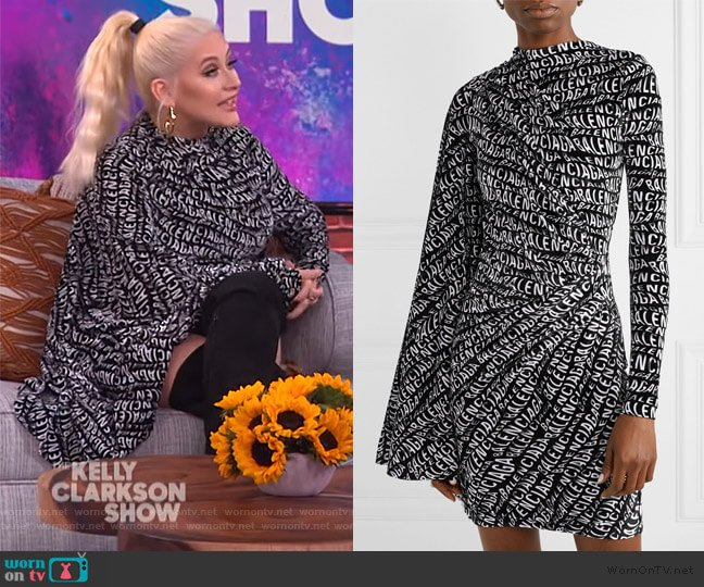 Draped printed stretch-velvet mini dress by Balenciaga worn by Christina Aguilera on The Kelly Clarkson Show