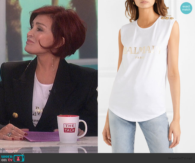 Button-embellished printed cotton-jersey tank by Balmain worn by Sharon Osbourne  on The Talk