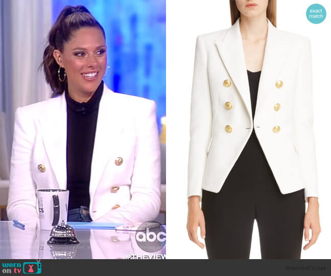 Double Breasted Wool Blazer by Balmain worn by Abby Huntsman  on The View