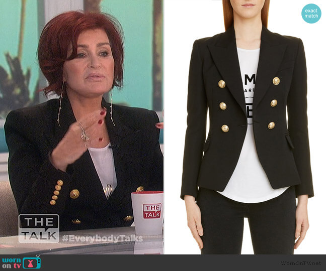 Double Breasted Wool Blazer by Balmain worn by Sharon Osbourne  on The Talk
