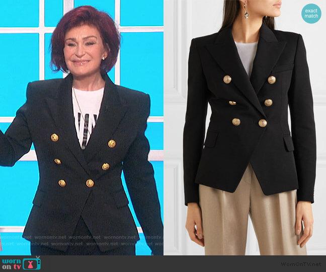 Double-breasted wool-twill blazer by Balmain worn by Sharon Osbourne  on The Talk