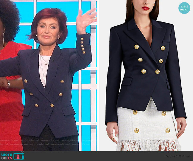 Gabardine Double-Breasted Blazer by Balmain worn by Sharon Osbourne  on The Talk