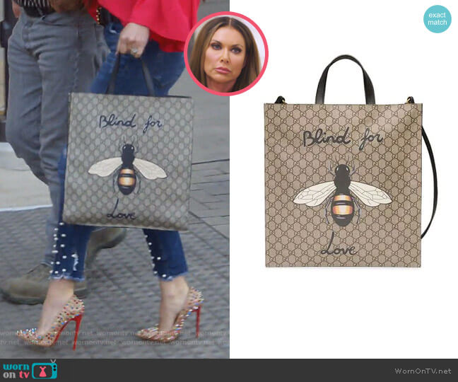 Bee Print Soft GG Supreme Tote by Gucci worn by LeeAnne Locken  on The Real Housewives of Dallas