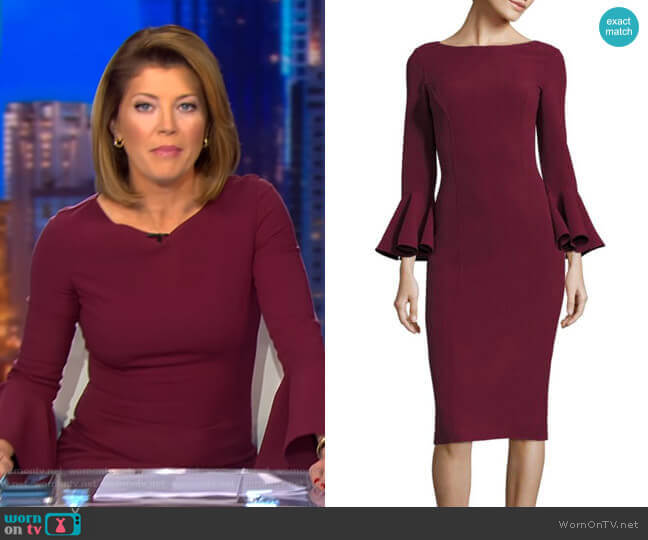 Bell Sleeve Dress by Michael Kors worn by Norah O'Donnell  on CBS Evening News
