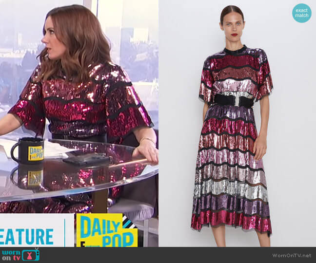 Belted Sequin Dress by Zara worn by Melanie Bromley  on E! News