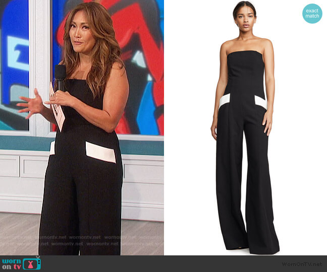 Carmine Jumpsuit by Black Halo worn by Carrie Inaba  on The Talk