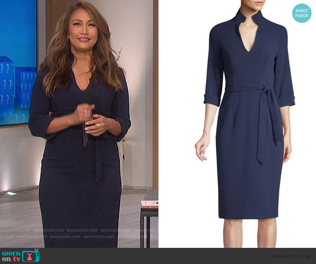 Madeline Tie-Front Sheath Dress by Black Halo worn by Carrie Inaba  on The Talk