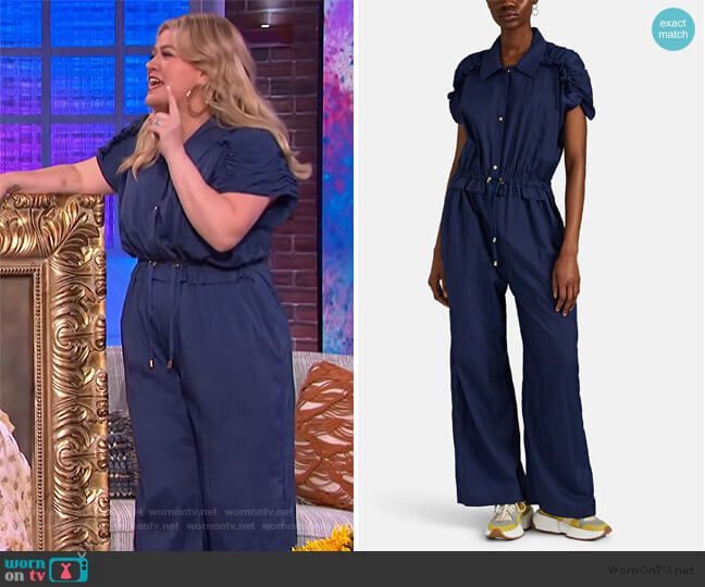 Orla Ruffle Ripstop Wide-Leg Jumpsuit by Brogger worn by Kelly Clarkson  on The Kelly Clarkson Show